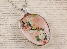 Recycled vintage spoon resin pendant necklace, pink floral flower art print For sale : a handcrafted women's necklace, made by Tracey Talko, founder of Resinate Designs jewellery.<br ></a><br />The spoons used for these pendants are reclaimed vintage cutlery, typically from the 1900s an...