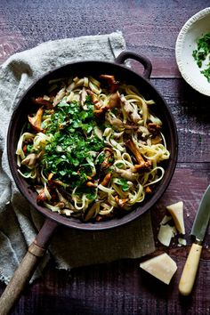 Comfort In A Bowl Of Wild Mushroom Pasta With Garlic and Parsley.