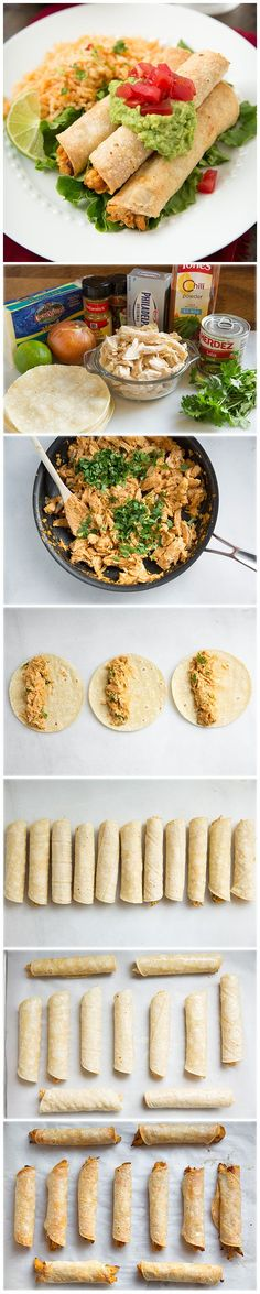 Baked Creamy Chicken Taquitos - you won& even miss the fried version!, Creamy Chicken Taquitos - you won& even miss the fried version! So incredibly good and crisp! Think Food, I Love Food, Food For Thought, Good Food, Yummy Food, Tasty, Great Recipes, Dinner Recipes, Interesting Recipes