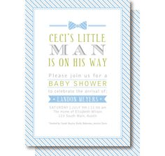 Bow Tie Baby Invitation | Little Man Bow Tie Baby Shower Invitations by DelightPaperie