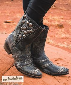 """INDEPENDENCE DAY SALES EVENT, save 20% on every pair of boots from July 1st through July 25th. This is the, """"High Plains Cruiser"""". She is, distressed waxed black leather women's western boots with two studded buckles with straps, steel zipper and stud detailing. The shaft features both small and large stud accents as well as a zipper accent. Check us out, we have over 50 styles and are adding more all the time."""