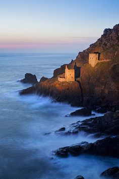 "Crown Mines of Botallack Village ~ Cornwall, England    ""This shot was taken long after dark, with the mines lit by torchlight."""