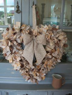 Large heart rag wreath in Autumn colours by Linen love shabby chic