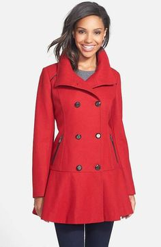 Skirted Wool Blend Coat