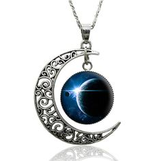 Spellbound Silver Crescent Moon and Cabuchon Medallion Necklace