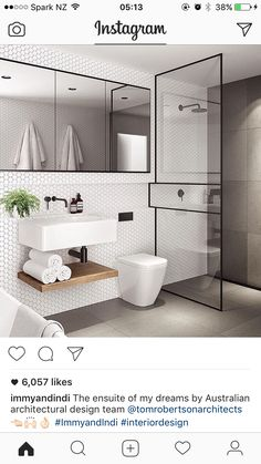 Bathroom design, clever use of lines, and blend of geometric tiles with slabs
