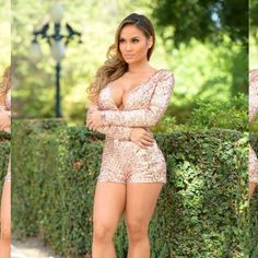 HP!!Now DISCONTINUED, Blush Sequin Romper HostPick For New Years Party!!!.       Just checked and it is now Discontinued.  SO GORGEOUS!!! ❤️❤️❤                                                                                             Long Sleeve Romper in Blush  Sequins Deep V Neckline Open Back 100% Polyester. Small is 32-35 bust, 34-37 hip. Material does feel stretchy. FashionNova Other