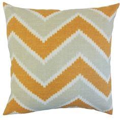 The Pillow Collection Hoku Zigzag Linen Throw Pillow Cover Color: Papaya Chevron Throw Pillows, Throw Pillow Sets, Outdoor Throw Pillows, Flower Pillow, Cotton Pillow, Sofa Bed, Linen Fabric, Contemporary, Modern
