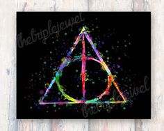 Harry Potter Deathly Hallows Print Watercolor by TheTripleJewel
