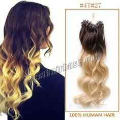 The Hot Seller, 26 Inch 100s Body Wave Trendy Micro Loop Hair Extensions Two Tone Ombre 100g Ombre brown to blonde..