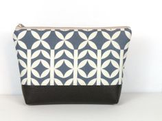 Blue and White Vinyl Lined Cosmetic Clutch by RedStaggerwing, $38.00