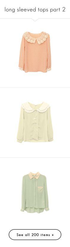 """long sleeved tops part 2"" by kawaii-items ❤ liked on Polyvore featuring tops, blouses, shirts, sweaters, pink chiffon shirt, polka dot blouse, pink shirt, red blouse, long sleeve chiffon blouse and cardigans"