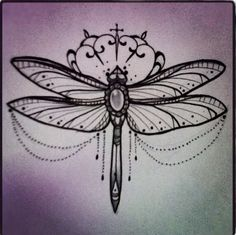 Jewelled dragonfly design would look beautiful as a wrist or arm tattoo.