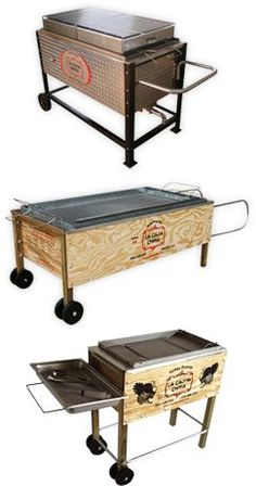 The equivalent of pit baking without digging the pit. The small one would do nicely for me in case anyone wants to know. La Caja China Superb Roasting Pig BBQ Grills and Smokers Bbq Pit Smoker, Barbecue Pit, Bbq Grill, Grilling, Door Grill, Receta Bbq, Carne Asada, Outdoor Wood Burner, Brick Bbq