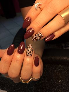 Love my new nails! #almond#fall#leopard                                                                                                                                                     More