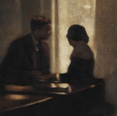 'Prelude to a Kiss' (1999) by British painter Anne Magill. Acrylic on canvas, 10 x 10 in. via Heartbreak