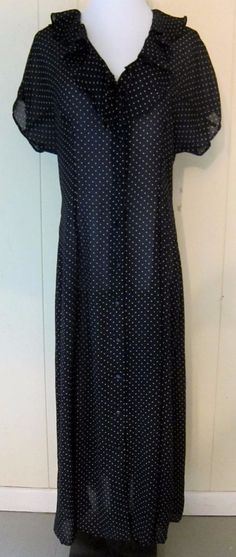Black & White Polka Dot Long Sheer Dress Duster Short Sleeve Button Front 11/12 #Laine #Maxi