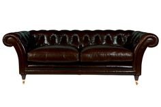 Hudson Leather 2 Seater Sofa, Leather Smokey - H75cm W187cm D97cm.