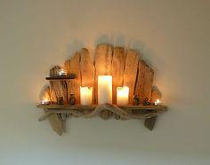 Lovely Shabby Chic, Rustic, Unique Driftwood Shelf, Shelves, Candle Holder