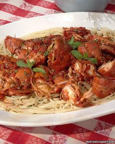 Linda's Spicy Lobster Linguine, Recipe from ,