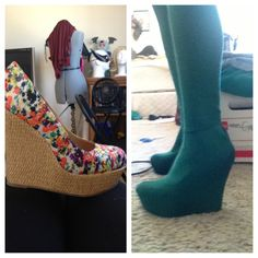 cover a cheap shoe with spandex fabric