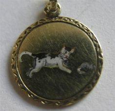 Antique German 14k 585 Gold Enamel Cat Chasing Mouse Charm Adorable