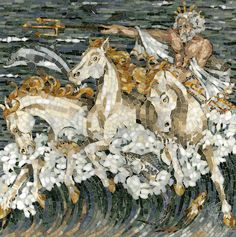 """20"""" x 20"""" Neptune marble mosaic in a high honed, pillowed finish"""