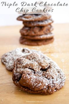 What's not to love about Dark Chocolate Cookies loaded with triple the chocolate?! Chocolate addict or not, these decadent dark chocolate cookies are a sure-fire cure for any chocolate cravings you may have! | Bake It With Love