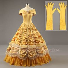 Storybook Beauty Costume Wig Nice Princess Belle Beast LARP Fairytale Royal Ball