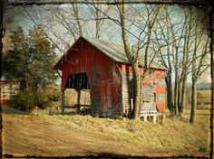 old barns of North Carolina | the last door down the hall: Digital Photograph - A Red Barn