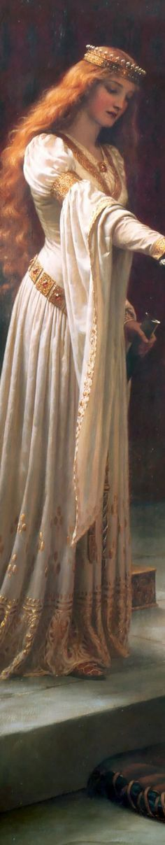 "Edmund Leighton's The Accolade ""DETAIL"""