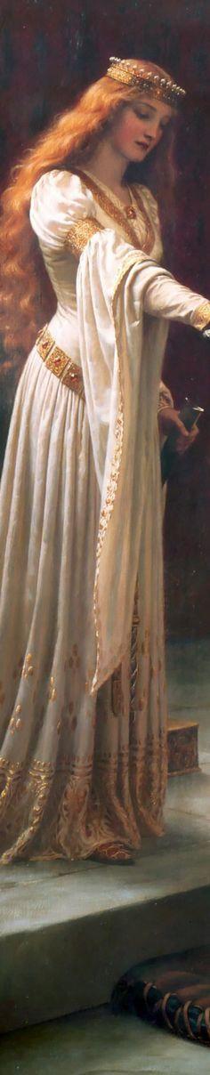 """Edmund Leighton's The Accolade """"DETAIL"""""""