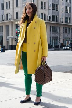 Her canary-yellow J.Crew coat stopped us in our tracks, and the bold addition of kelly-green skinnies from AG Jeans meant that we had to snap her photo.