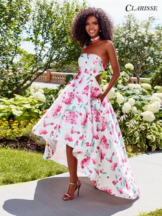 Strapless High Low Floral Prom Dress 3563
