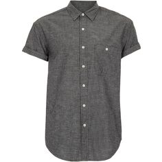 TOPMAN Black Nep Chambray Oversized Short Sleeve Shirt ($14) ❤ liked on Polyvore featuring men's fashion, men's clothing, men's shirts, men's casual shirts, men, shirts, tops, black, button down and mens short sleeve shirts