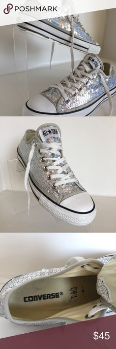 Chuck Taylor All-Star Converse Silver Sequin 10M Lightly Used Women's Chuck Taylor All-Star Converse Sneakers Women's size : U.S. 10  Mens Size: U.S. 8   Color : Silver Sequin with white Laces, eye-lit's are Silver Color.  White contrasting band around Bottom of Shoe with white Rubber Toe  Low Profile Style,  Please see Photo's for Details  Thank You for looking Converse Shoes Sneakers