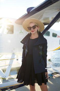 Burberry Brit toggle jacket and Maje skirt