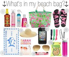 """""""What's in my beach bag?"""" by evelynisabelle ❤ liked on Polyvore"""