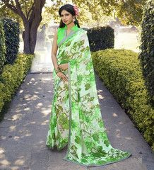 Green Color Georgette Kitty Party Sarees : Chandani Collection  YF-41403