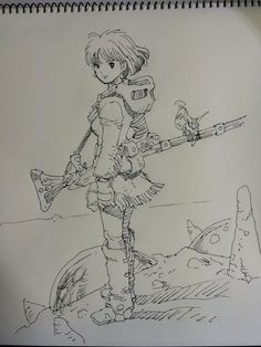 Nausicaa by japanese mangaka character-designer Hisashi Eguchi (Perfect Blue, Roujin Z, Spriggan). Manga Drawing, Manga Art, Drawing Sketches, Anime Art, Drawings, Totoro, Art Studio Ghibli, Nausicaa, Character Art
