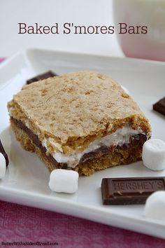 Baked S'mores Bars ~~ Butter With A Side of Bread #recipe