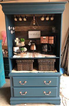 Coffee Bar Design, Coffee Bar Home, Home Coffee Stations, Coffee Corner, Armoire Makeover, Furniture Makeover, Diy Furniture, Refurbished Furniture, Repurposed Furniture