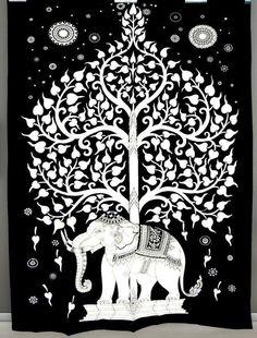 Kayso Elephant Tree Tapestry with Good Luck White Elephant Tapestry Hippie Gypsy Wall Hanging Tree of Life Tapestry and New Age Dorm Tapestry, White/Black Tapestry Bedding, Dorm Tapestry, Indian Tapestry, Bohemian Tapestry, Mandala Tapestry, Tapestry Wall Hanging, Dorm Bedding, Hippie Tapestries, Tapestry Gold