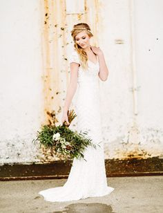 Theia Couture http://greenweddingshoes.com/stylish-washington-loft-wedding-anje-alex/