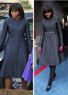 Michelle Obama wears a custom Thom Browne navy coat at Inaguration Michelle Obama Flotus, Michelle Obama Fashion, Seventies Fashion, Navy Coat, Celebrity Style, Celebrity Babies, Red Carpet Looks, Maternity Wear, Winter Dresses