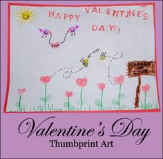 Valentine's Day Thumbprint Art
