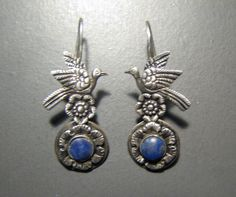 FRIDA KAHLO Style LAPIS and Sterling Earrings with Birds and Flowers. $38.00, via Etsy.