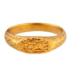 devotional iconographic gold band, vintage