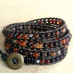 Burnt Caramel- leather 4-wrap bracelet