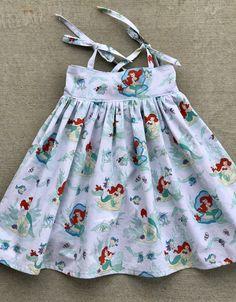 Little Mermaid sundress, Ariel dress, Girls or Toddler dress, Tie Straps, Lauren dress by AudreyandAverie on Etsy https://www.etsy.com/listing/521879083/little-mermaid-sundress-ariel-dress